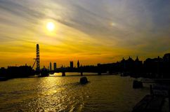 River thames sunset Stock Photos