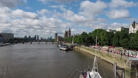 River Thames in London stock footage
