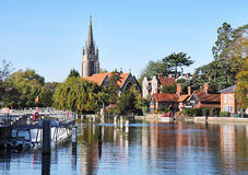The River Thames at Marlow. In England with Weir and Church in the background Stock Images