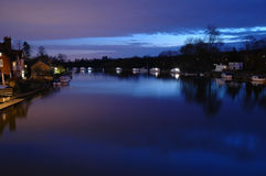 River Thames at Marlow. Evening view from road bridge with river mist Royalty Free Stock Photo