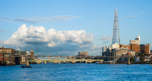River Thames with the Millennium Bridge and The Shard in London Royalty Free Stock Photos