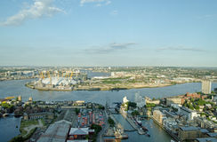 River Thames at North Greenwich. View from a tall building of the meandering River Thames as it passes between North Greenwich and Tower Hamlets in East London Royalty Free Stock Photography