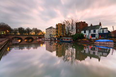 River Thames in Oxford. Boats near Folly Bridge on river Thames in Oxford Royalty Free Stock Photos