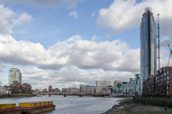 River Thames at St George's Wharf. View along the south bank of the River Thames at the new St George's Wharf development in Nine Elms, Lambeth, London Royalty Free Stock Photos