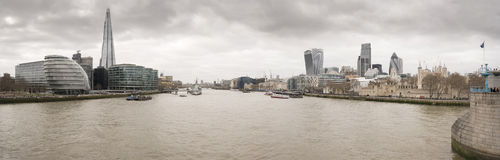 The River Thames. From Tower Bridge with from left to Right:- 3 More London, City Hall, The Shard, 2 More London, HMS Belfast, The City, 2o Fenchurch, The Stock Photo