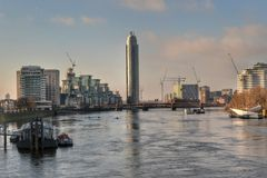 River Thames Vauxhall Bridge London Stock Photos