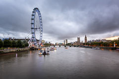 River Thames, Westminster Palace and London Skyline in the Eveni Stock Image