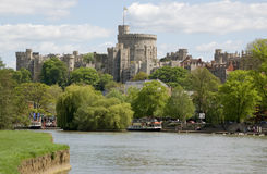 River Thames at Windsor, Berkshire. View of the town of Windsor from the banks of the River Thames in Berkshire stock photo