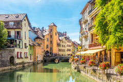 River Thiou and streets in Annecy - France. ANNECY,FRANCE - SEPTEMBER 2,2016 - River Thiou and streets in Annecy. Annecy is the largest city of Haute Savoie Stock Photos