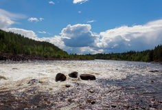 River with three rocks. River with white water and three rocks royalty free stock image