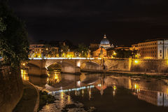 River Tiber at night in Rome, Italy. View of the Vatican with bridges over the River Tiber in Rome, Italy Stock Photography