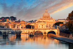 River Tiber, Ponte Sant Angelo and St. Peter's Basilica Royalty Free Stock Photo