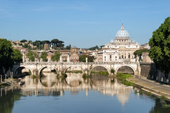 River Tiber in Rome - Italy. St. Peter's Basilica, Ponte Sant Angelo and Tiber River in Rome - Italy stock photos