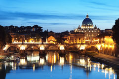 River Tiber in Rome - Italy. Night image of St. Peter's Basilica, Ponte Sant Angelo and Tiber River in Rome - Italy royalty free stock photography