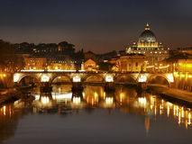 The River Tiber and Vatican. Night view of Vatican City, Italy, photo was taken in February Royalty Free Stock Images