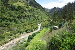 The River Toachi runs through the Ecuadorian Andes. On the Quilotoa Loop hike Stock Photo