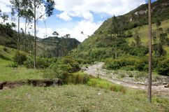The River Toachi runs through the Ecuadorian Andes. On the Quilotoa Loop hike Stock Photography