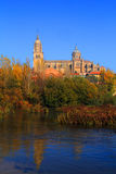 The River Tormes, Salamanca, Spain. Salamanca, Spain. The historical university city and the Cathedral reflected in the Tormes River in the early morning Autumn royalty free stock image