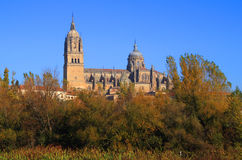 The River Tormes, Salamanca, Spain. Salamanca, Spain. The historical university city and the Cathedral viewed from the Tormes River in the early morning Autumn stock photos