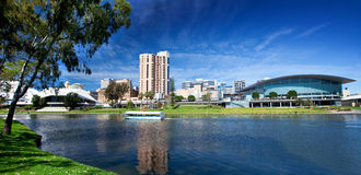 River Torrens Cruise. An old boat cruises on the River Torrens -  Adelaide, South Australia Stock Photo