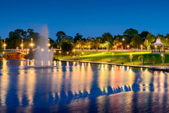 River Torrens and Fountain in Elder Park. Night view of River Torrens and Fountain in Elder Park. Long exposure effect Stock Photography