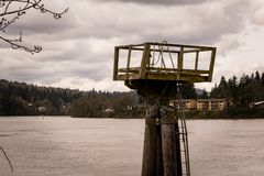 River Tower, Dusk. Gloomy afternoon on the river, shortly before dusk. Milwaukie, OR Royalty Free Stock Photos