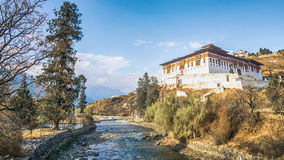 The river with traditional bhutan palace, Paro Rinpung Dzong,. Bhutan Stock Images