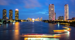River Traffic Bangkok city Royalty Free Stock Images