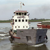 Shipping - Irrawaddy River - Myanmar (Burma). River traffic on the Irrawaddy River (Ayeyarwaddy River) in Myanmar (Burma).  It is the countrys largest river and Stock Photo