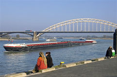 River traffic on the Waal, city Nijmegen Stock Image