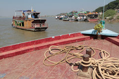River trafic of Irrawaddy, near Mandalay Stock Images