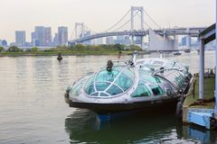 Tokyo, Japan, Speedboat at the pier. The Island Of Odaiba. stock photos