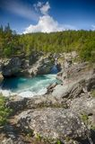 Mountain river in Norway summer trip. River travel in europe mountain vacation tourism Royalty Free Stock Photos