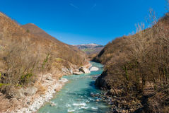 River Trebbia. The river Trebbia flows across the Apennines during the winter Stock Images