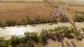 River and trees with cars and bridge. A birds eye view shot of a long river with trees and cars in slow motion. Camera slowly pans to the right stock footage