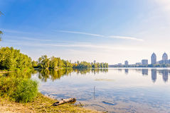 River, trees and City Skyline Stock Photography