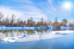 River and trees in winter season. River and trees in the winter season royalty free stock image