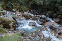 River. Trekking from Namche Bazaar to Monzo Nepal Sagamatha National Park Royalty Free Stock Photo