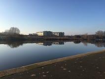 River Trent reflections of Emmanuel school Stock Photo