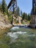 River and trestle. Creek under train trestle Stock Photography