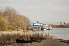 River trips on the boats. Moscow City district Marino. Park named after Moscows 850th anniversary. April 9, 2014 Stock Images