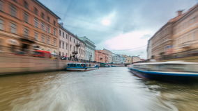 River trips on canals of St. Petersburg Russia timelapse hyperlapse. River trips on canals of St. Petersburg (Russia) timelapse hyperlapse. View of city from stock video