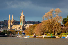 River and Truro Cathedral. View up river from Malpas to Truro Cathedral Cornwall England UK Royalty Free Stock Photos