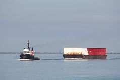 River Tug Boat Towing Barge Stock Image