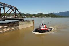 River Tug, Mission Rail Bridge, BC Stock Photography