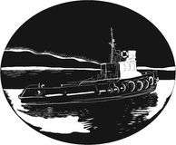 River Tugboat Oval Woodcut Stock Image