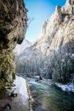 River - Turda Gorge - Cheile Turzii, Transylvania, Romania. River - Turda Canyon in winter (March) time. Turda Gorge - Cheile Turzii  is 6 km west of Turda and Stock Image