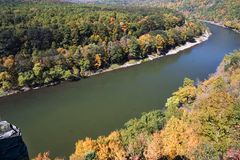 River turn. Delaware river makes turn with autumn landscape stock images