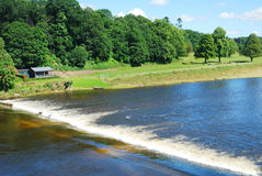 River Tweed weir, meadow near Coldstream Stock Photo