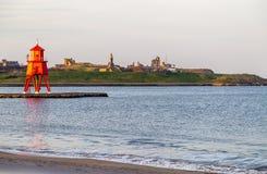 River Tyne - the Groyne lighthouseHerd  Royalty Free Stock Images